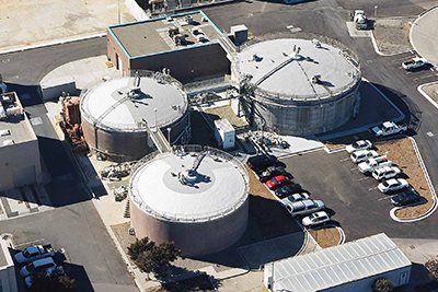 aerial view of 3 anaerobic digesters