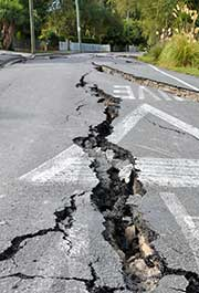 Road with deep cracks
