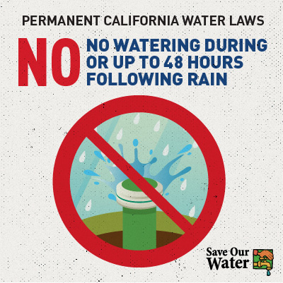 Permanent Caifornia water laws - No watering during or up to 48 hours following rain