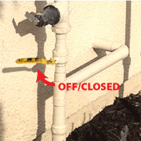 Ball Valve to shut water on/off in closed position
