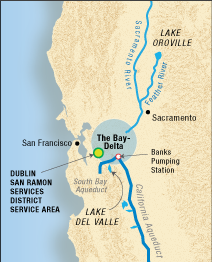 Map of California showing major rivers and aqueducts that bring water from Lake Oroville to the San Francisco Bay Area and southern California