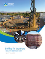 "Three photos showing construction of the digester at the Regional Wastewater Treatment Facility with text ""Building for the Future"" Fiscal Year 2018 Annual Report"