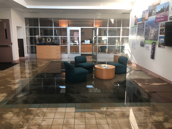 The DSRSD offic lobby flooded with water and silt.