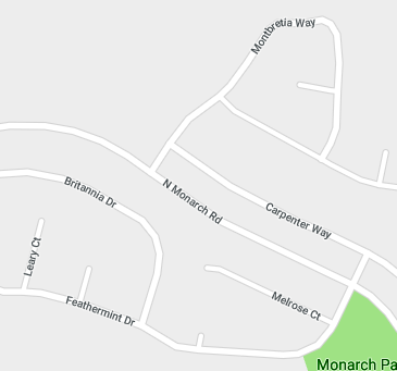 Map of streets in San Ramon off of North Monarch Road.