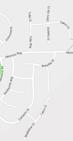 Map of streets in San Ramon off of North Monarch Road at Japonica Way.