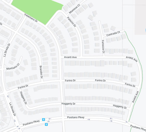 Map of streets off of Positano Parkway near intersection of Valentano Drive and Forino Drive in Dublin.