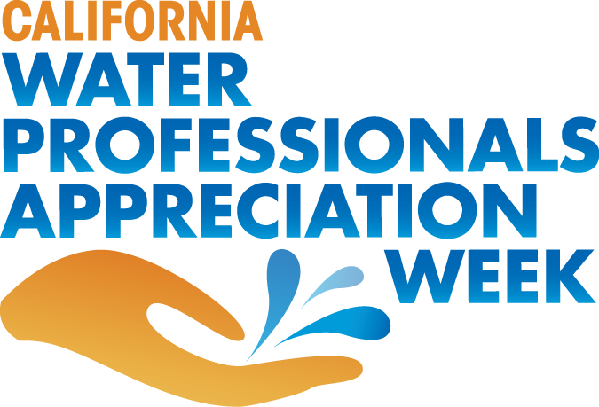 Logo for California Water Professionals Appreciation Week with hand and splash of water.