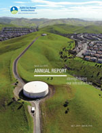Cover of DSRSD Annual Report fiscal year 2019 with aerial image of reservoirs on a hillside in San Ramon.