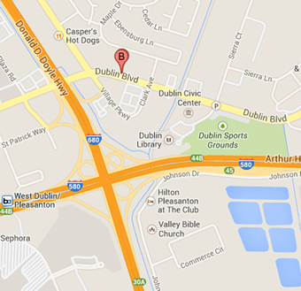 This is a map showing location of DSRSD office at 7051 Dublin Blvd., Dublin, CA 94568