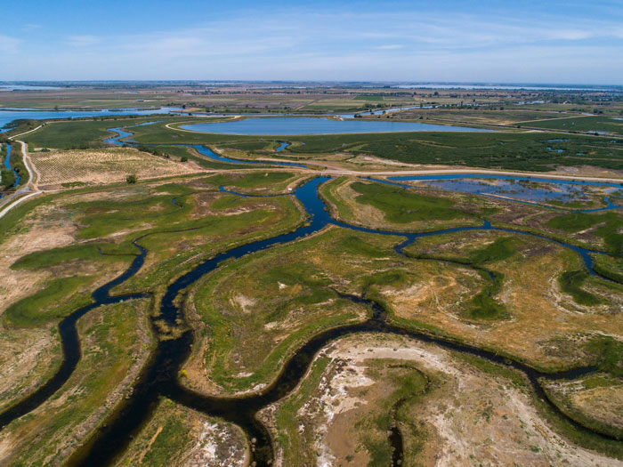 An aerial view of the Delta near Oakley.