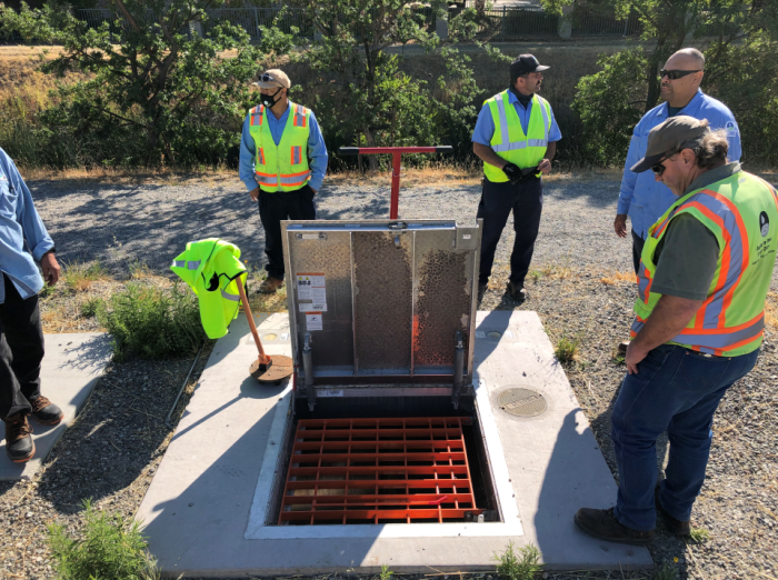 DSRSD open sewage manhole cover for new Central San Diversion project