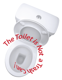 Toilet, text: The toilet is not a trash can!